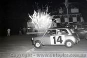 66083 - P. Barns Morris Cooper S & A Boddenberg Chrysler Valiant - Oran Park night meeting 1966  - Photographer Lance J Ruting