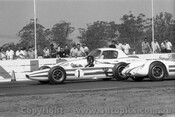 65541 - The three Geoghegan cars, Lotus 32, Lotus 23b and Lotus Elan, Oran Park 2nd May 1965 - Photographer Lance J Ruting
