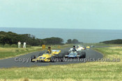 73649 -  John Leffler Elfin MR5 / Howie Sangster McLaren M22 - Gold Star Race Phillip Island 25th November 1973 - Photographer Peter D'Abbs