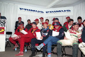 97804 - Drivers Meeting Bathurst 1997 -  Perkins, Brock, Skaife, Jones, Percy, Ingall, Lowndes, Seton, Johnson - Photographer Marshall Cass
