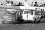 650476 - #34 David Bye & #50 Ron Granger, Morris Minis - Oran Park 1965 - Photographer Bruce Wells