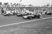 660001 - Start of the 1966 Warwick Farm Tasman Series Race - Clark, Lotus 39 / Hill, BRM / Gardner, Brabham BT11A - Photographer Bruce Wells
