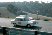 67760 - Peter Williamson & Alex Macarthur Toyota Corona -  David Bye / Lynn Brown Fiat 850 - Gallaher 500 Bathurst 1967 - Photographer Geoff Arthur
