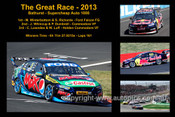 644 - The Great Race 2013 - A collage of 4 photos showing the first three place getters from  Bathurst 2011 with winners time and laps completed.