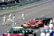 68487 - Start of the Six Hour Race, Surfers Paradise 1968 - Matich / Scott Matich SR3, Brown / Palmer Ferrari P4, O'Sullivan / Bassett Lola T70, Geoghegans 250LM, Gates / Bertram Lotus Elan, Whiteford / Roxburgh, Datsun 2000 & French / Holland Morris Cooper S - Anne Blackwood Collection