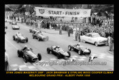 58501-2 - Start of the 1958 Melbourne GP Albert Park - Front Row Moss - Cooper / Brabham - Cooper / Jones - Maserati - Printed with a black border and a caption discribing the photo. Copy of an original photo signed by both