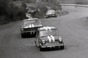 65121 - Peter Manton, Left Hand Drive Morris Cooper S, Norm Beechey Mustang & Jim McKeown Cortina - Catalina Park Katoomba 1965- Photographer Bruce Wells