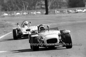72379 -  Jeoff Turner, Lotus Super7 Ford & David Medley, Hargal BMC  - Warwick Farm  1972 - Photographer Lance J Ruting