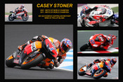20x30 POSTER SIZE PHOTO ONLY $20.00 - Casey Stoner - Retires from MotoGP - A collage of a few of the bikes he has ridden during his career including his last ride at Phillip Island, 2012