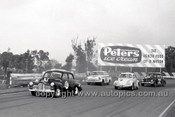 63038 - Norm Gown FX Holden, #14 Geoff Hood & # 32 Allan Moffat Volkswagen - Sandown 23rd June 1963 - Photographer Peter D'Abbs
