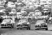 R.Hodgson Mk 2.3 Jaguar W. Pitt and I. Geoghegan in Mk1.3 Jaguars - Bathurst October 1960 - Copy Photo