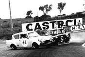 71016  - Ray Kalida Sideways infront of Phil Ward - Ford Anglia  Bathurst  1971