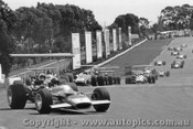 69529 - First Lap Tasman Series Sandown 1969 - Rindt Lotus 49 leads Amon Ferrari, Hill and Brabham