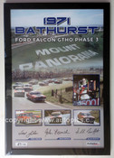 180F - Falcon XY GTHO Framed Poster - Bathurst 1971 - Personally Signed By Allan Moffat, John French & Fred Gibson