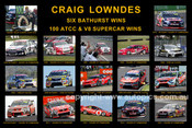 186S - Craig Lowndes - A collage of 15 photos showing his six Bathurst wins and a selection of his 100 ATCC wins. 8x12 $5.00