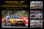 647 - The Graet Race 2016 - A collage of 4 photos showing the first three place getters from  Bathurst 2016 with winners time and laps completed.