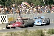 76673 - Kevin Bartlett, Lola T400-Chev  / John Goss, Matich A53-Repco - Wanneroo 21st March 1976 - Photographer Tony Burton