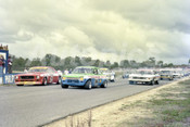 77099 - Start of the  Sports Sedan Championship, Garry Rogers, Escort / Tony Edmondson, Charger & Bob Jane, Monaro - Wanneroo 12th June 1977 - Photographer Tony Burton