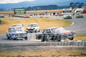 87095 - John Routley Ford XM Coupe & Barry Cassidy, Valiant -  Symmons Plains 8th March 1987 - Photographer Keith Midgley