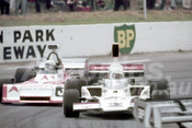 75623 - Warwick Brown, Lola T332 & Garrie Cooper, Elfin MR5 - Tasman Series Oran Park 1975 - Photographer Neil Stratton