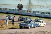 66035 - Beechey Chev Nova  /  Geoghegan & Thomson Mustangs / McKeowm Lotus Cortina / Foley & Manton Morris Cooper S - Lakeside  1966 - Photographer John Stanley