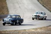 66037 - Jim McKeowm Lotus Cortina / Ian  Pete  Geoghegan Ford Mustang - Lakeside  1966 - Photographer John Stanley