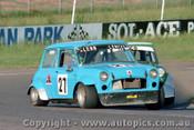 84030 - G. Lemcke / Marco Van der Veen Morris Mini s - Oran Park 17th November 1984