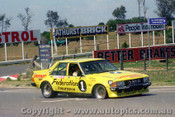 80755 - A. Moffat / J. Fitzpatrick  Ford Falcon XD  with a flat front drivers sie tyre - non finisher -  pisto rings - only completed 3 laps -  Bathurst 1980 - Photographer Lance J Ruting