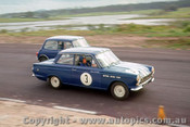 63013 -  J. McKeown Lotus Cortina / P. Manton Morris Cooper S - Lakeside 1963 - Photographer John Stanley