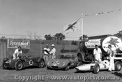 62529 - #18 F. Coad Lotus Climax / #K22 G. Spanos GTS Elfin / R. Holden Lynx. - Sandown 1962  - Photographer  Peter D Abbs