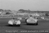 59416 - #56 - B. Devlin - Lotus - #43 - A. Williams - Porsche - #51 - J. Cleary - Austin Healey - Fishermen s Bend - 10th October 1959 - Photographer Peter D Abbs