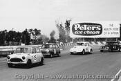 63020 -  D. Thurston / R. Brown - Morris 850 / G. Hood  / C. Brewster - Volkswagen- Sandown 1963 - Photographer Peter D Abbs