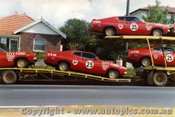75751a - Allan Moffat s  Ford Falcon fleet -  taken in the week prior to Bathurst 1975 in the Southern Sydney suburb of Caringbah - Photograph supplied by Glenn Bastin