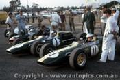 66590 - Jim Palmer Lotus 32B Climax - Jim Clark Lotus 39 Climax - Graham Hill BRM - Tasman Series  Warwick Farm 1966 - Photographer Adrien Schagen