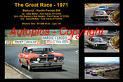 602 - The Great Race 1971 - A collage of the first three  place getters from  Bathurst 1971 with winners time and laps completed. A. Moffat Falcon XY - Barnes / Skelton Falcon XY  - D. McKay Falcon XY