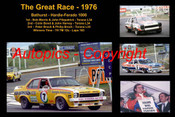 607 - The Great Race 1976 - A collage of the first three place getters from  Bathurst 1976 with winners time and laps completed. Morris / Fitzpatrick Torana L34 - Bond / Harvey Torana L34 - Peter Brock / Phillip Brock Torana L34