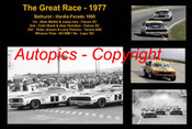 608 - The Great Race 1977 - A collage of the first three place getters from  Bathurst 1977 with winners time and laps completed. Moffat / Ickx Falcon XC - Bond / Hamilton Falcon XC - Janson / Perkins Torana A9X