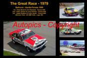 610 - The Great Race 1979 - A collage of the first three place getters from  Bathurst 1979 with winners time and laps completed. Brock / Richards Torana A9X - Janson / Perkins Torana A9X - Radburn / Smith Torana A9X
