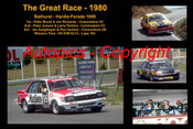 611 - The Great Race 1980 - A collage of the first three place getters from  Bathurst 1980 with winners time and laps completed. Brock / Richards Commodore VC - Janson / Perkins Commodore VC - Geoghegan / Gulson Commodore VB