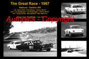 598 - The Great Race 1967 - A collage of the first three place getters from  Bathurst 1967 with winners time and laps completed.