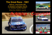 612 - The Great Race 1981 - A collage of the first three place getters from  Bathurst 1981 with winners time and laps completed.