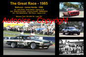 616 - The Great Race 1985 - A collage of the first three place getters from  Bathurst 1985 with winners time and laps completed.
