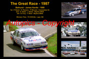 618 - The Great Race 1987 - A collage of the first three place getters from  Bathurst 1987 with winners time and laps completed.