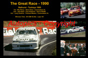 621 - The Great Race 1990 - A collage of the first three place getters from  Bathurst 1990 with winners time and laps completed.