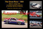 622 - The Great Race 1991 - A collage of the first three place getters from  Bathurst 1991 with winners time and laps completed.