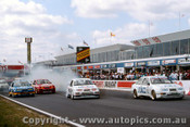 90700 - Start of the 1990 Bathurst - Niedzwiedz/ Brock / Johnson and Seton  Ford Sierra RS500 - Photographer Ray Simpson