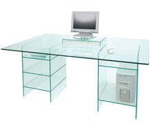 Greenapple Glass Desk with shelves