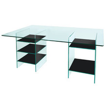 Greenapple Glass Desk with Black Shelves