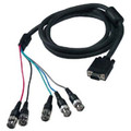 15' Coax VGA to BNC Cable (HD15 M to 5-BNC Connectors) w/ Ferrite - Black