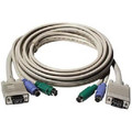 15' PS/2 3-In-1 KVM Cable - Mini Din 6 Male x 2 & HD15 Male On Both Sides